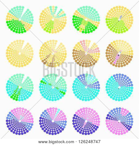 Set circular color different shades green. vector illustration