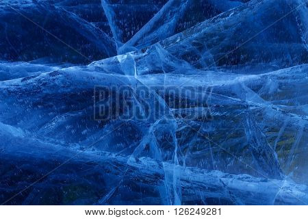 Cracks in the ice. Beautiful winter landscape in the Lake Baikal.