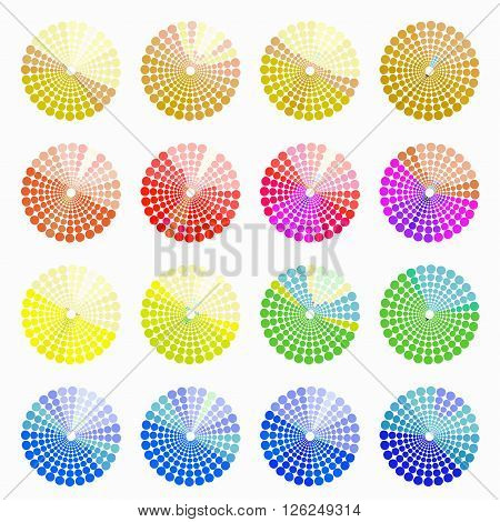 Set circular color different shades of bright. vector illustration