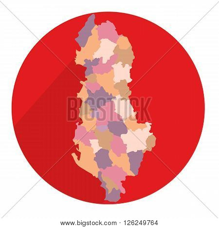 Albania map area in flat illustration vector icon red