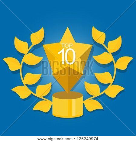 top 10 ten award winner trophy icon gold symbol winner selection vector
