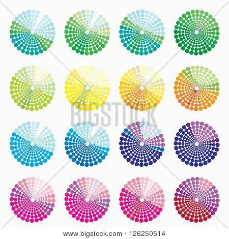 set of different colored circular blue. vector illustration