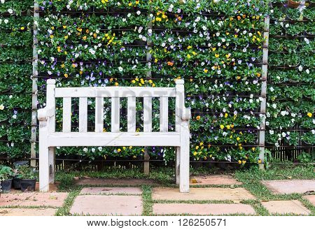 White wooden bench in front of the vertical garden.