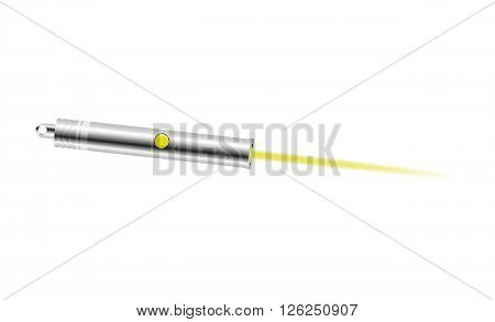 Laser pointer with yellow light on white background
