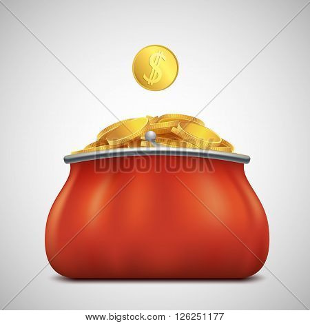 Heap of gold coins in a purse. Profit and revenue. Stock vector illustration.