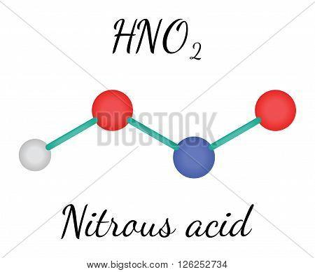 HNO2 nitrous acid 3d molecule isolated on white