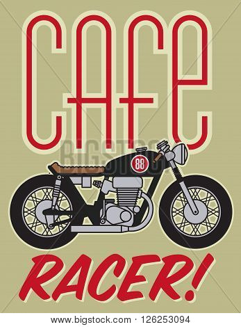 Vector illustration of classic cafe racer motorcycle