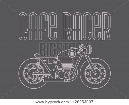 Heavy outline vector illustration of classic cafe racer motorcycle