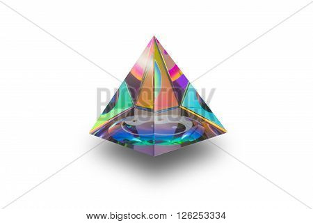 Colorful triangle crystal amulet of Yin Yang for protection people from bad things which isolated on white background
