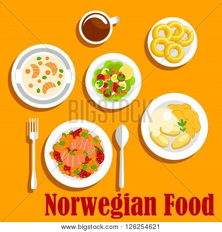 Popular fish dishes of norwegian cuisine icon with vegetable stew with salmon, boiled potatoes, served with mashed turnip, salmon cream soup, egg salad with fresh tomatoes, lettuce and smoked salmon, glazed donuts with cup of hot chocolate. Flat style