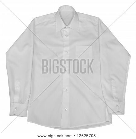 White shirt with long sleeves isolated on white background. Clipping path included.