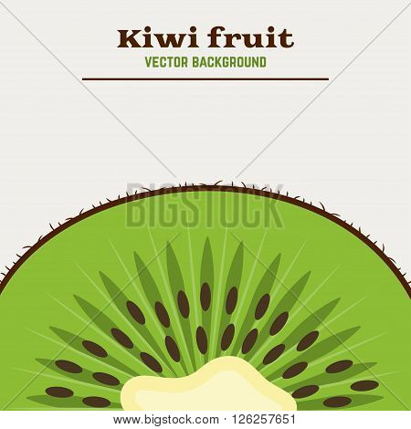 Vector background with fresh green kiwi fruit. Great for design of healthy lifestyle or diet. Kiwi fruit vector illustration. Slice of kiwi.