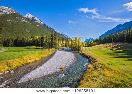 The shallow stream among green and yellow grass lawns. The park Banff in the Rocky Mountains of Canada