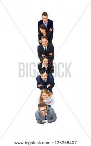 Business people standing in a row. top view