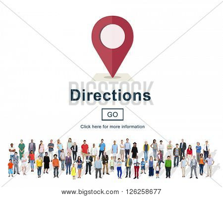 Directions Exploration Magnet Map North South Concept