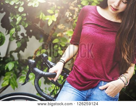 Bike Bicycle Exercise Female Style Transport Travel Concept