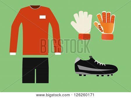 vector illustration of soccer goalkeeper kit item