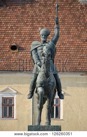 Michael the Brave's equestrian statue inside Carolina Citadel in Alba Iulia, Romania