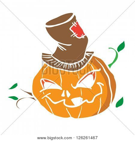 pumpkin head cartoon illustration