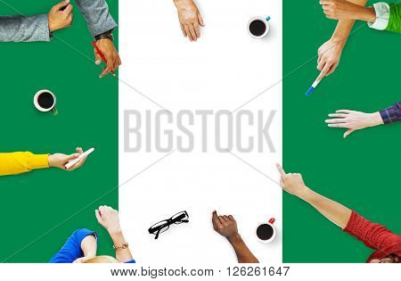 Nigeria National Flag Business Team Meeting Concept