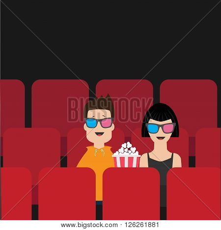 Love couple sitting in movie theater eating popcorn. Film show Cinema background. Viewers watching movie in 3D glasses. Red seats hall. Flat design Vector illustration