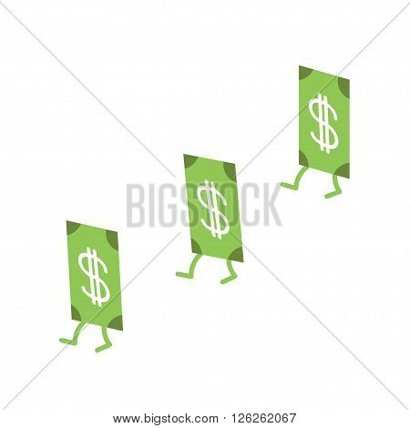 Dollar banknote going in white background. Money bill with stepping. Cute cartoon character set. Isolated.