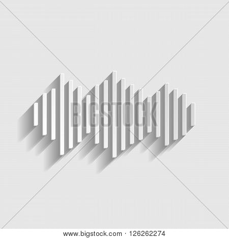 Sound waves icon. Paper style icon with shadow on gray