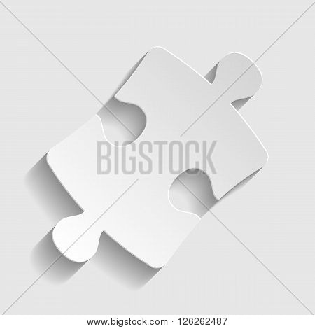 Puzzle piece flat icon. Paper style icon with shadow on gray