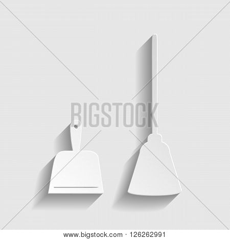 Dustpan vector icon. Scoop for cleaning garbage housework dustpan equipment. Paper style icon with shadow on gray