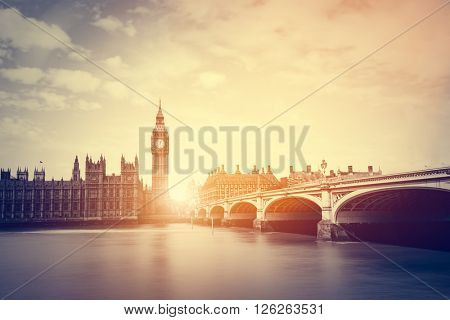 Big Ben, Westminster Bridge on River Thames in London, the UK. English symbol. Vintage, retro style