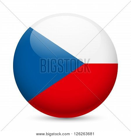 Flag of Czech Republic as round glossy icon. Button with Czech flag