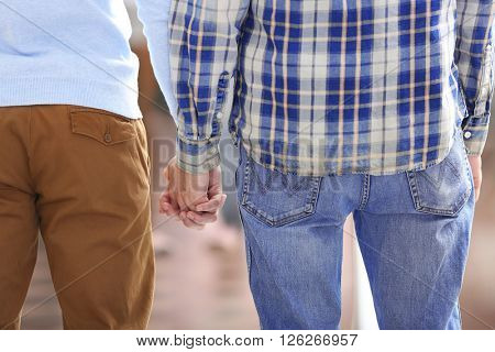 Two homosexuals holding hands outside