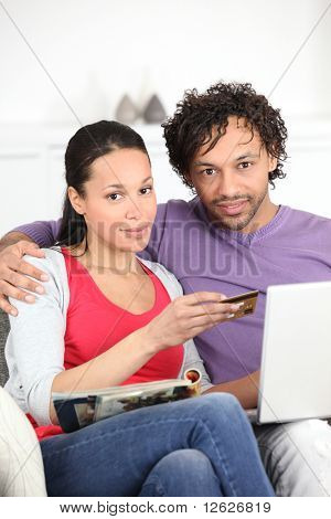 Couple making purchases online