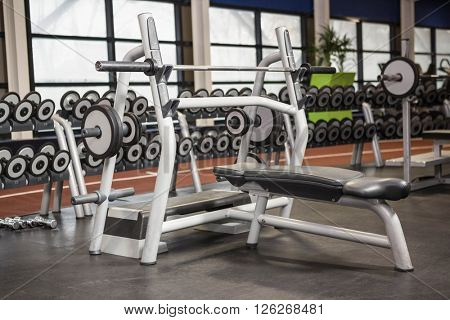 Weight lifting machine in a gym