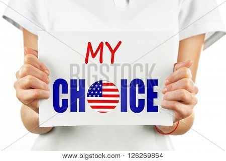 Hands holding card with text My Choice