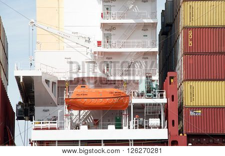 Life Boat On Cargo Ship Msc Brunella