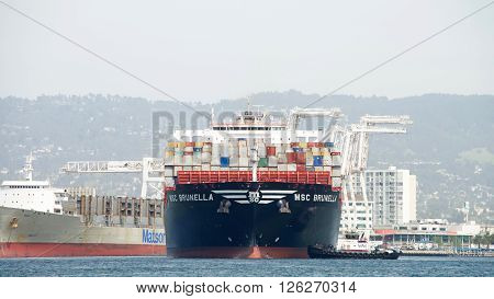 Cargo Ship Msc Brunella Arriving At The Port Of Oakland