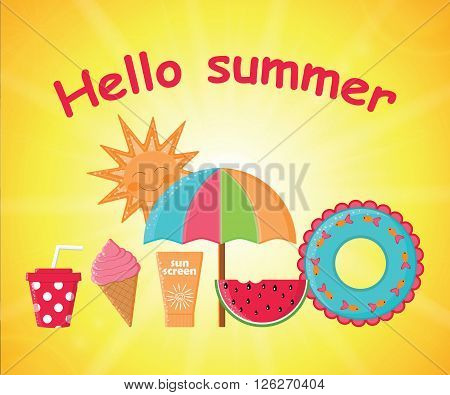 Summer day background vector.Summer poster.Summer Holidays.Items for a summer holiday