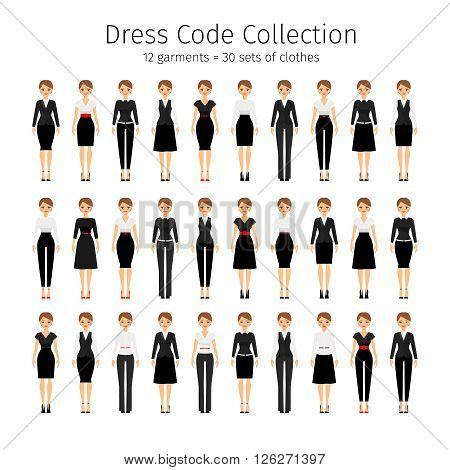 Business woman collection. Women dress code vector set