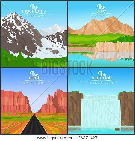 Landscape set. Mountain landscape and landscape with a waterfall, landscape with the road and the view of the lake vector illustration
