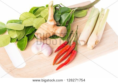 Ingredients for Thai soup (Tom Yum Goong) Thai cuisine