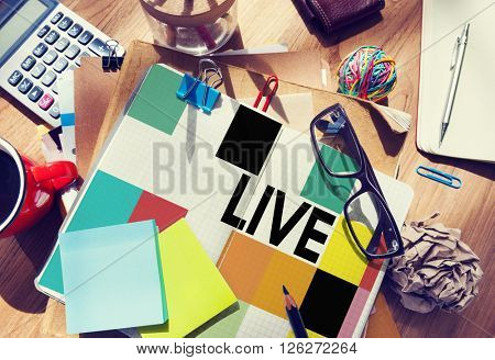 Stationary Office Desk Messy Live Concept