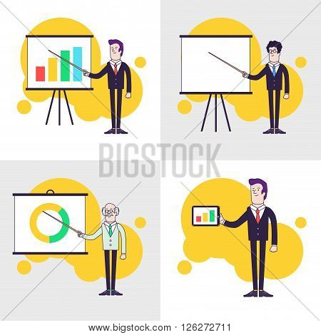 Modern businessmen set. Flipchart with colored bar chart, pie chart. Old professor is showing presentation. Businessman is holding tablet. Line flat style illustration