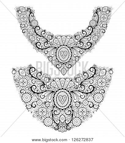 Neck lace two black line icons on white background. Vector fashion neck print