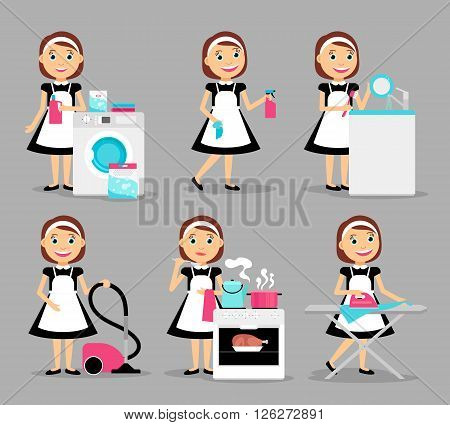 Housewife characters. Woman house working icons. Vector illustration