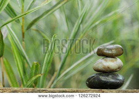 Tower stone with bamboo in the background. Concept of tranquility, peace and relax.