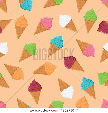Seamless Pattern With Colorful Ice Cream