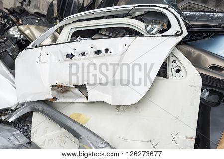 Car auto body repair : Wrecked car door