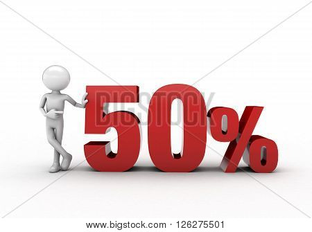 3D character with 50% discount sign  white background