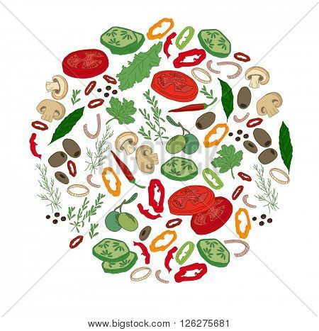 Round template with different vegetables, cheese and meat. Object for your design, announcements, fabrics, cards, posters, restaurant and cafe menu.